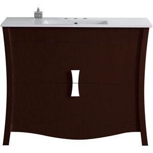 """American Imaginations Bow Vanity Set  - Single Sink - 48"""" - Brown"""