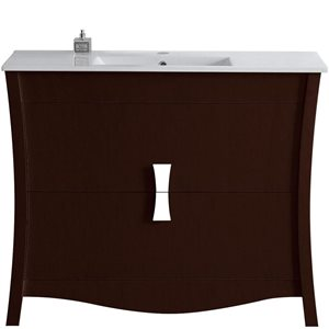 48-in Bow Birch Wood-Veneer Vanity Set with Ceramic Top