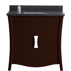 "American Imaginations Bow Vanity Set  - Single Sink - 36"" - Brown"