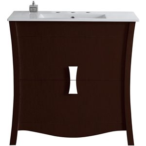 "American Imaginations Bow Vanity Set  - Single Sink - 35.5"" - Brown"