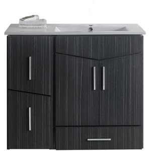 "American Imaginations Zen Vanity Set  - Single Sink - 35.5"" - Gray"