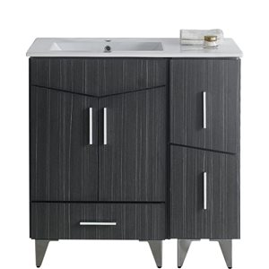 """American Imaginations Zen Vanity Set  - Single Sink - 35.5"""" - Gray"""