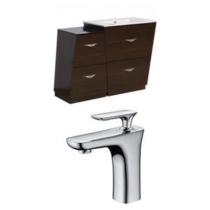 """American Imaginations Vee Vanity Set  - Single Sink - 37.75"""" - Brown"""