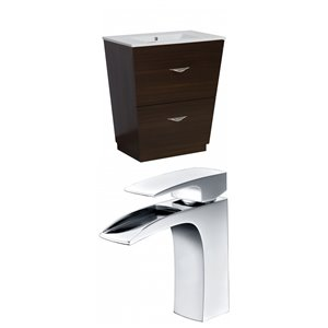"American Imaginations Vee Vanity Set  - Single Sink - 30"" - Brown"