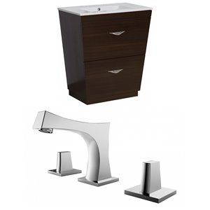 """American Imaginations Vee Vanity Set  - Single Sink - 30"""" - Brown"""