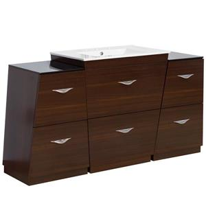 "American Imaginations Vee Vanity Set  - Single Sink - 60"" - Brown"