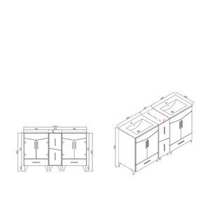 """American Imaginations Zen Vanity Base Set - 60"""" x 21"""" - Gray"""