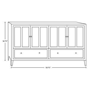 "American Imaginations Shaker Vanity Base Set - 58.75"" x 32.75"" - White"