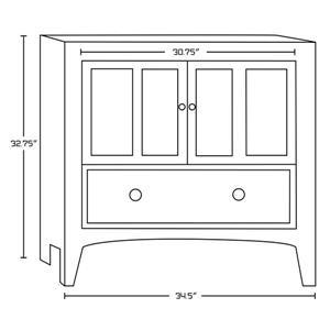 "American Imaginations Shaker Vanity Base Set - 34.5"" x 32.75"" - Brown"