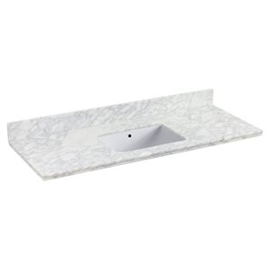 "American Imaginations Shaker Quartz Top Set - 47.5"" x 18.25"" - White"
