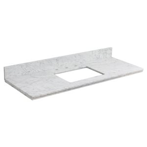 """American Imaginations Elite Marble Top - 47.6"""" x 18.25"""" - White"""
