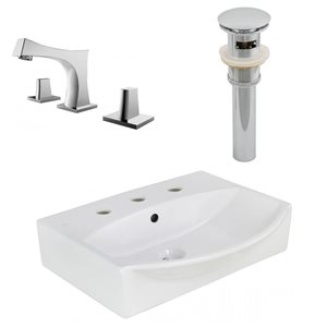 19.5-in W Rectangle Vessel Set With 3 Hole 8-in CTC Center Faucet
