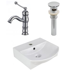 13.75-in W Rectangle Vessel Set With 1 Hole Center Faucet