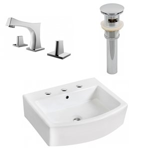 22.25-in W Rectangle Vessel Set With 3 Hole 8-in CTC Center Faucet