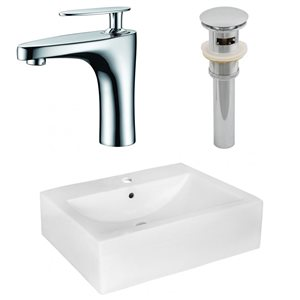20.25-in W Rectangle Vessel Set With 1 Hole Center Faucet