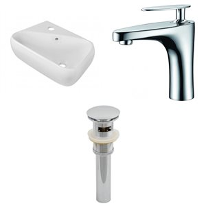 17.5-in W Rectangle Vessel Set With 1 Hole Faucet