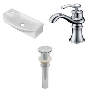 17.75-in W Rectangle Vessel Set With 1 Hole Faucet