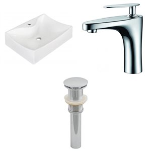 21.5-in W Rectangle Vessel Set With 1 Hole Center Faucet