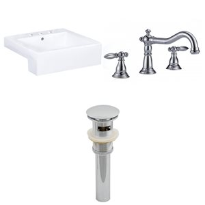20.25-in W Xena Rectangle Vessel Set With 3 Hole 8-in CTC Center Faucet