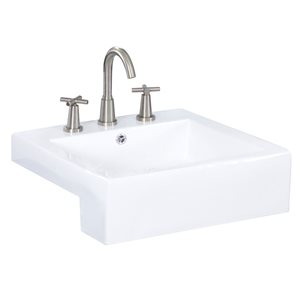 "American Imaginations Semi-Recessed Vessel Set - 20.25"" x 30.5"" - White"