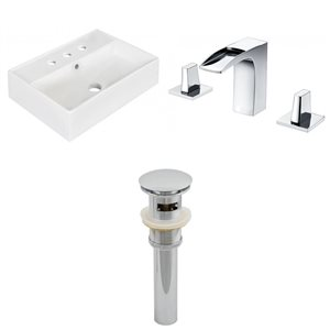 19.75-in W Rectangle Vessel Set With 3 Hole 8-in CTC Center Faucet