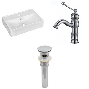 19.75-in W Rectangle Vessel Set With 1 Hole Center Faucet