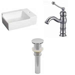 16.25-in W Rectangle Vessel Set With 1 Hole Faucet
