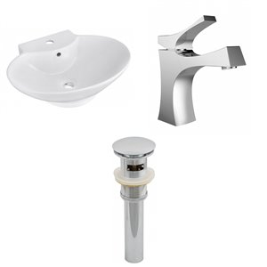 22.75-in W Oval Vessel Set With 1 Hole Center Faucet