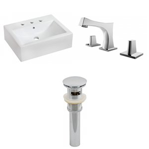 20.25-in W Rectangle Above Counter Vessel Set With 3 Hole 8-in CTC Center Faucet