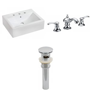 20.25-in W Rectangle Vessel Set With 3 Hole 8-in CTC Center Faucet