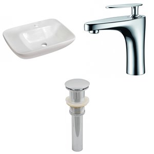23.5-in W Rectangle Vessel Set With 1 Hole Center Faucet