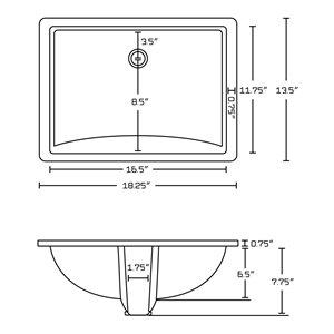 "American Imaginations Undermount Sink - 18.25"" x 5"" - White"