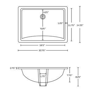 "American Imaginations Undermount Sink - 20.75"" x 5"" - Beige"