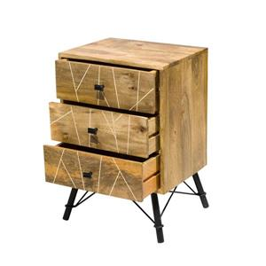 "CDI Furniture Mosaic Nightstand - 18"" x 26"" - Wood - Natural"