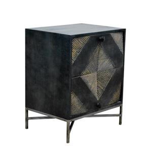 "CDI Furniture Noche Nightstand - 21.5"" x 26.75"" - Wood - Black"