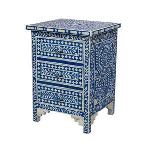 "CDI Furniture Aida Nightstand - 16"" x 24"" - Wood - Blue"
