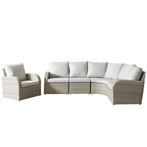 Corliving Wicker Patio Set 5 Pieces, Grey Wicker Patio Furniture Canada