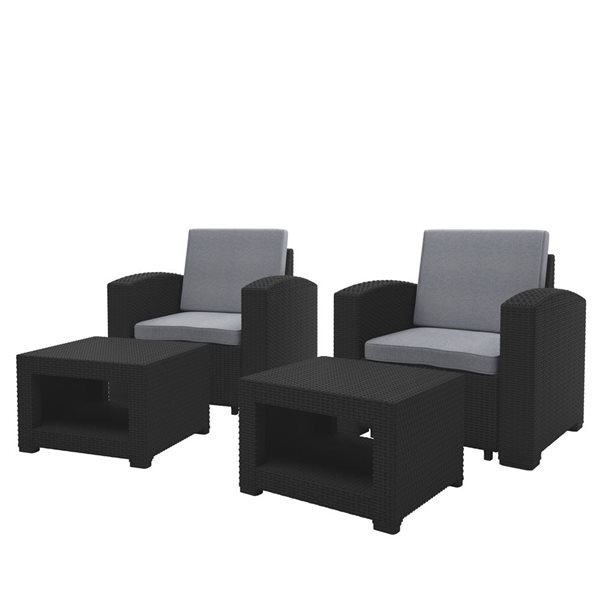 Corliving Outdoor Chair And Ottoman Set, Patio Chairs With Ottoman