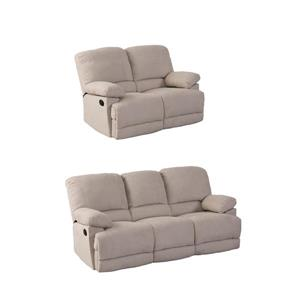 CorLiving Chenille Fabric Reclining Sofa Set - 2 Pieces - Beige
