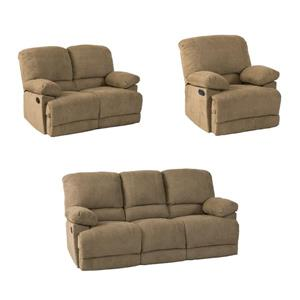 CorLiving Chenille Fabric Reclining Sofa Set -3 Pieces - Brown