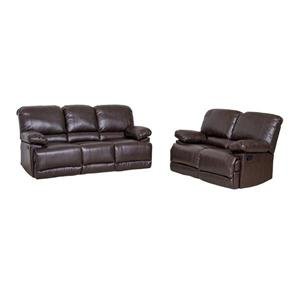 CorLiving Bonded Leather Reclining Sofa Set - Chocolate