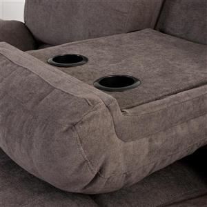CorLiving Chenille Fabric Reclining Sofa Set - 3 Pieces - Grey
