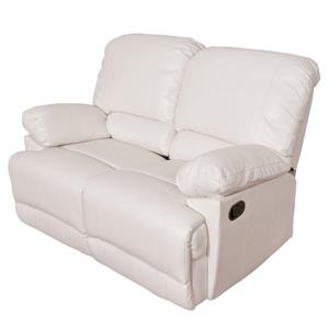 CorLiving Bonded Leather Reclining Loveseat - White
