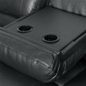 CorLiving Bonded Leather Reclining Sofa - Black