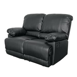 CorLiving Bonded Leather Reclining Loveseat - Black