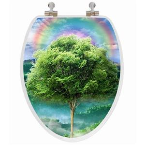 Topseat Toilet Seat with 3D Image Hologram - Elongated - Tree