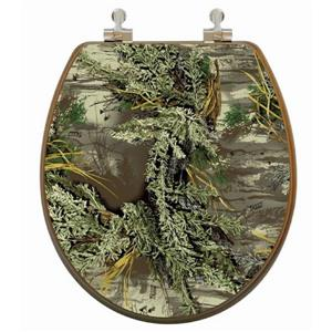 Topseat Toilet Seat with High Res 3D Image - Round - Camouflage