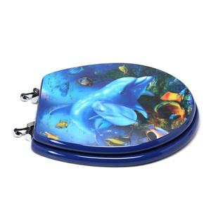 Topseat Toilet Seat with High Res 3D Image - Round - Dolphins