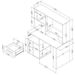 South Shore Furniture Annexe Computer Desk - 47.75-in x 22.5-in x 58.5-in - Black