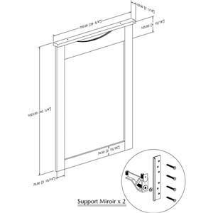 South Shore Furniture Step One Mirror - 40.25-in x 30-in x 41-in - White